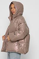 Объемная зимняя куртка женская на эко-пухе пудра