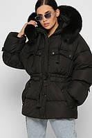 Зимняя куртка женская черная с мехом стильная молодежная