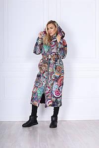 Женское пальто с принтом силикон 250
