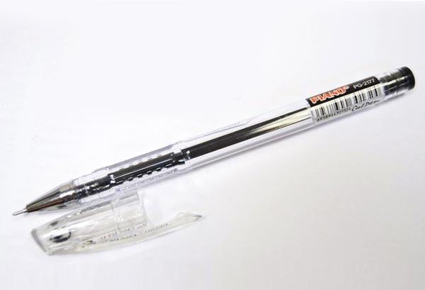 Ручка гелева PIANO 0,5 мм чорна корпус прозорий
