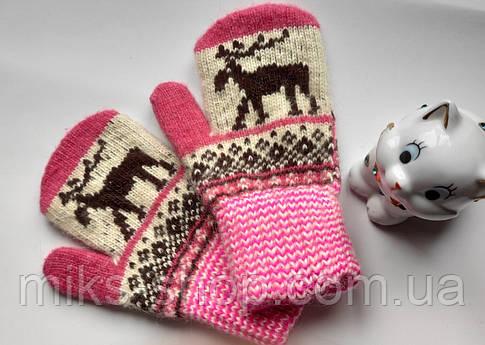 Варежки рукавиці 100 % шерсть на 5-7 р, фото 2