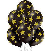 Belbal B105 Звезды золотистые шелкография 30 см металлик  черный (25шт)