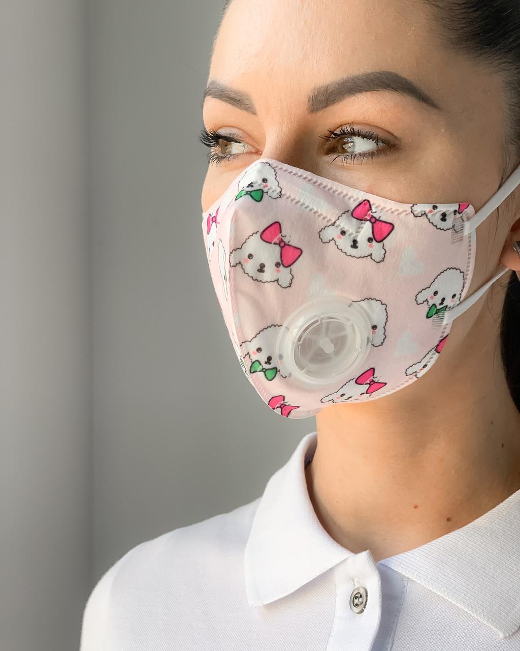 Четырехслойная маска с клапаном принт DOGS (2 шт.)