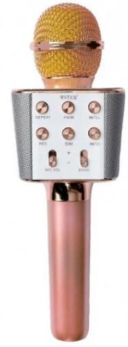 Караоке-микрофон портативный Wster WS-1688, розово-золотой