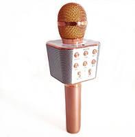 Караоке-микрофон портативный Wster WS-1688, розово-золотой, фото 3