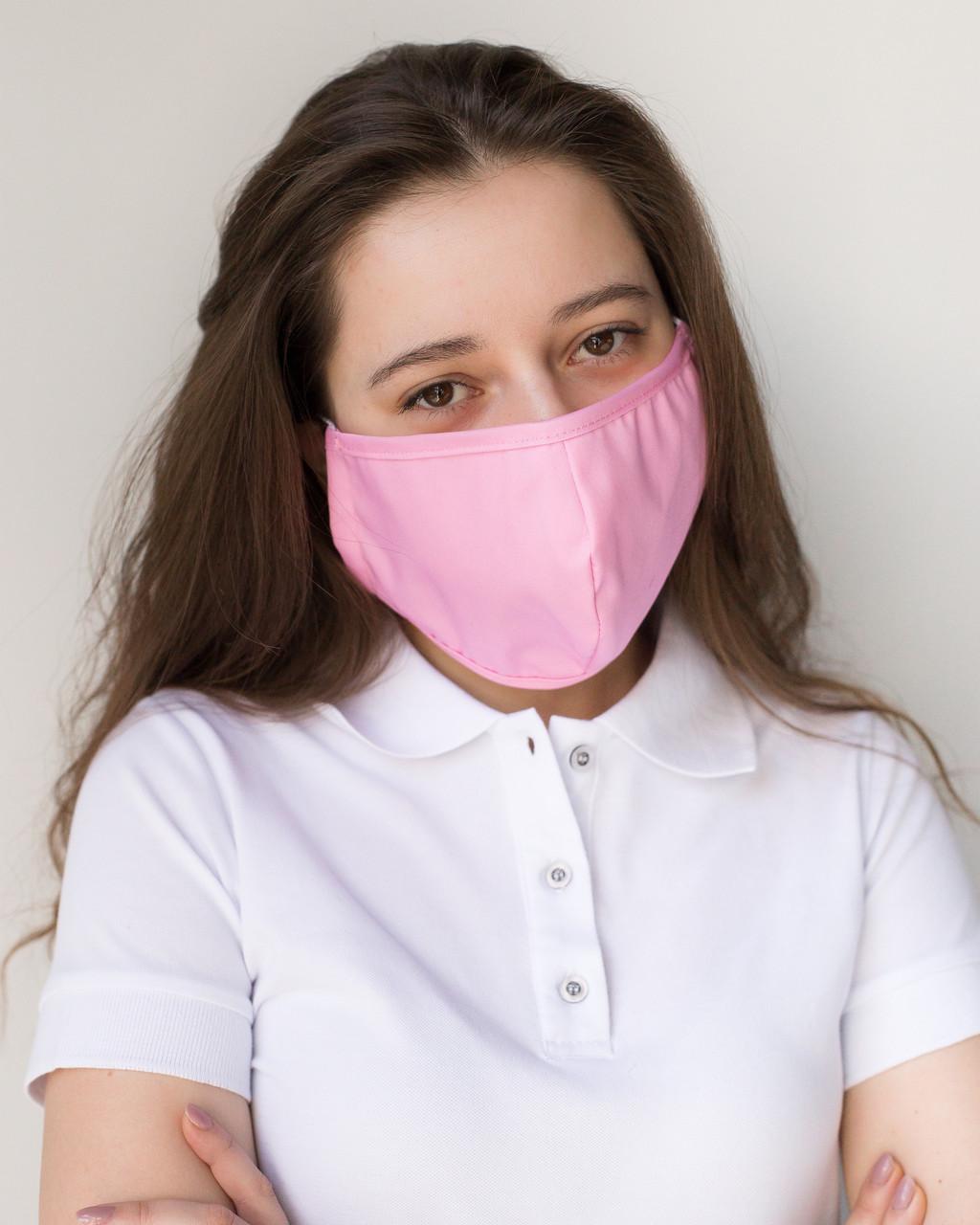 Медицинская многоразовая двухслойная маска розовая