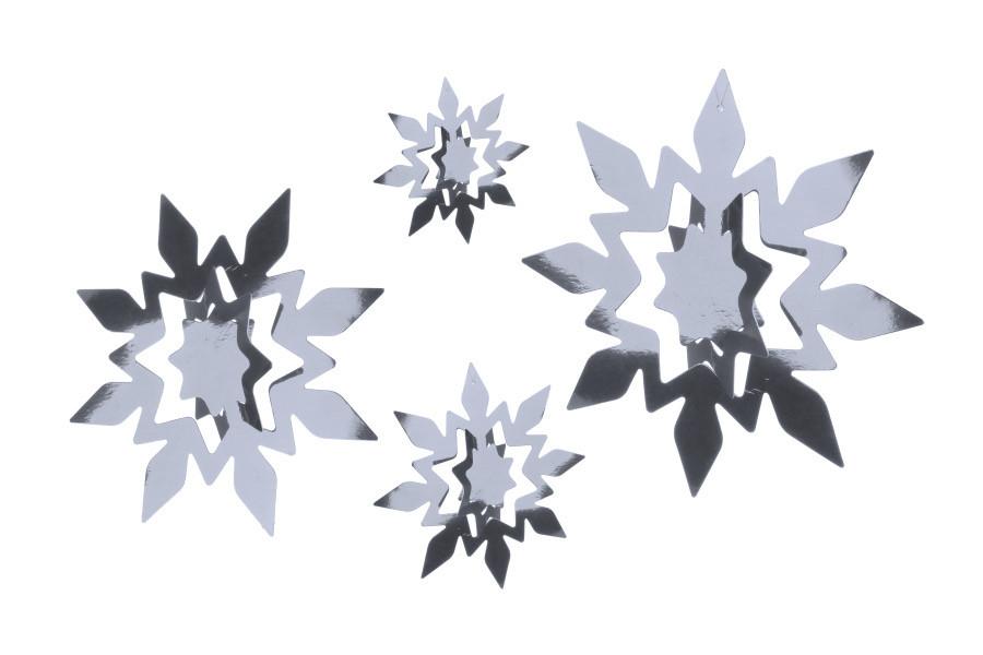 """Набір 3D сніжинок великі """"Silver"""" 4 розміру ( 11 шт)"""