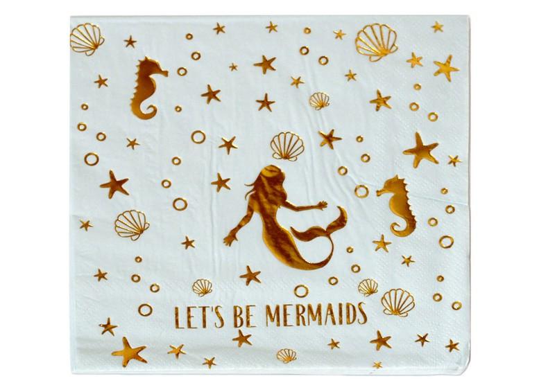 Декупажні серветки Let's be mermaids 33*33cм, двошарові з фольгою, 20шт/уп