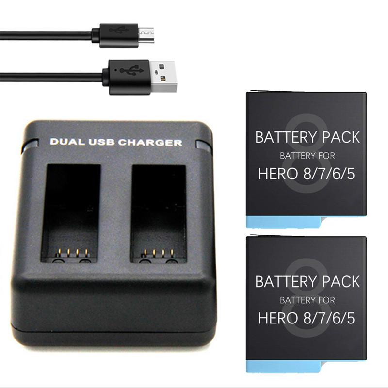 Набор: Зарядное устройство на два места + два аккумулятора AHDBT-801 для GoPro HERO8 Black