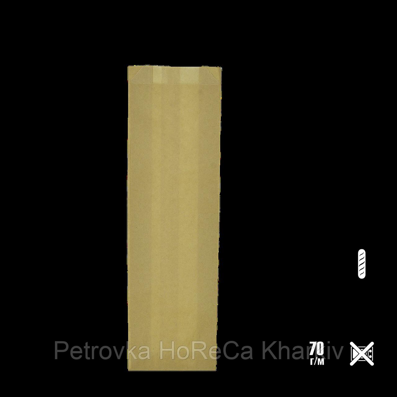 Бумажный пакет без ручек крафтовый 310х100х30мм (ВхШхГ) 70г/м² 100шт (100)