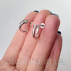 Серебряные серьги в виде гвоздя с камнями, фото 3