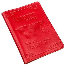 Кожаная обложка на паспорт с картой и рамкой SHVIGEL 13981 Красная