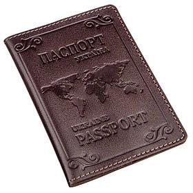 Кожаная обложка на паспорт с картой и рамкой SHVIGEL 13983 Коричневая