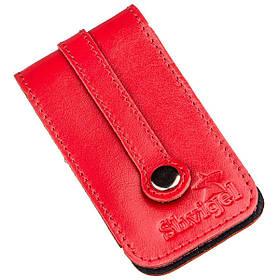 Компактная кожаная ключница с хлястиком SHVIGEL 13987 Красная