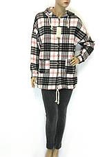 Жіноча сорочка в клітинку з капюшоном, фото 2