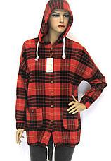 Жіноча сорочка в клітинку з капюшоном, фото 3