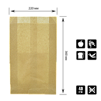 Бумажный пакет без ручек крафтовый 360х220х50мм (ВхШхГ) 40г/м² 100шт (911), фото 1