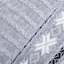 Плед Новогодний 140*180 серый с орнаментом