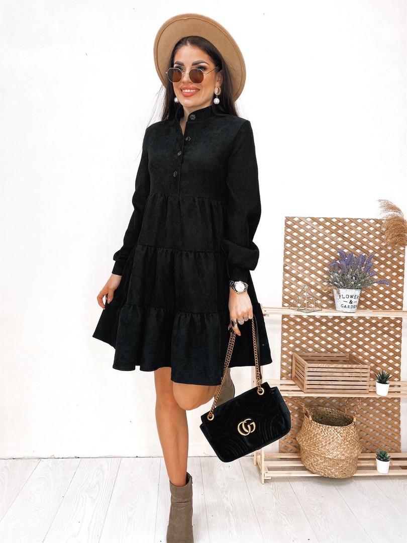Женское вельветовое платье Черный