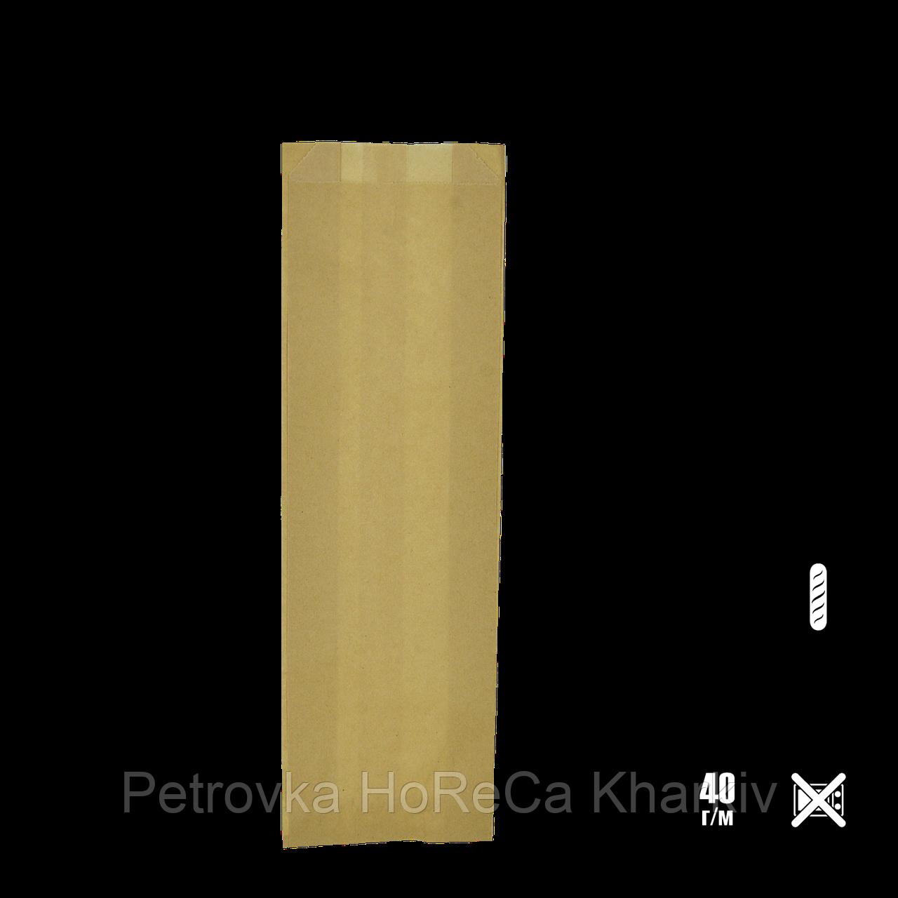 Паперовий пакет без ручок крафтовый 390х80х40мм (ВхШхГ) 40г/м2 100шт (272)