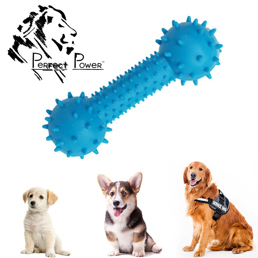 Іграшка для собак шипована гантель для чищення зубів Гумова гантелька масажер для ясен 14 см Синя