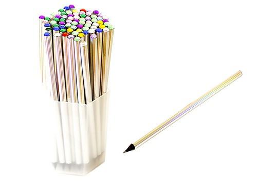 Олівець чорнографітний ООПТ HB з камінчиком, корпус чорне дерево з лазерною фольгою