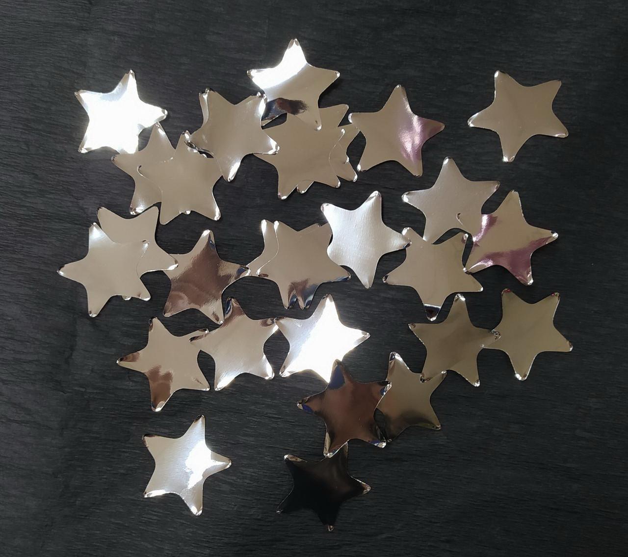 Аксесуари для свята Конфеті зірка срібний 35мм 50грам