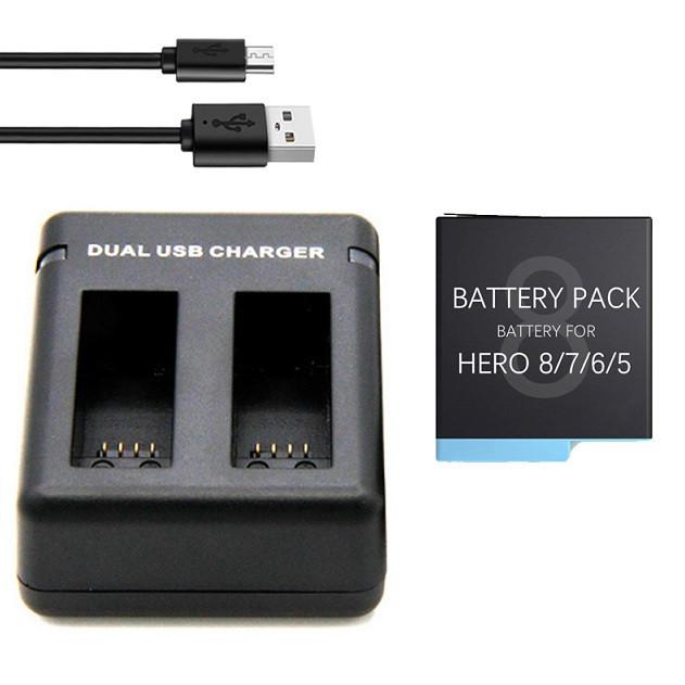 Набор: Зарядное устройство на два места + один аккумулятор AHDBT-801 для GoPro HERO8 Black