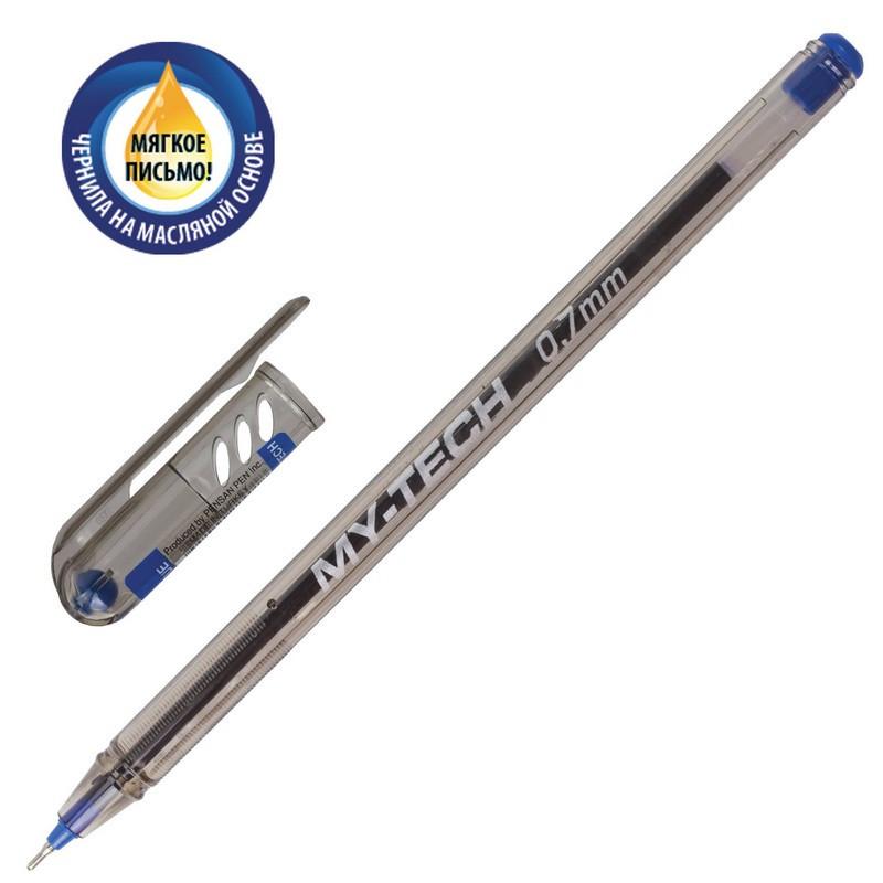 Ручка кулькова Pensan MY-TECH 0,7 мм синя корпус прозорий