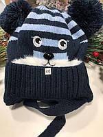 Шапочка зимняя с помпонами  MOUSE (темно), фото 1
