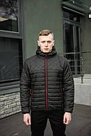 Куртка мужская весенняя классика черная с капюшоном