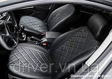 Чохли салона Subaru Forester IV 2012- ЕКО-шкіра, Ромб /чорні 88952