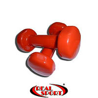 Гантели для фитнеса виниловые по 2 кг, пара, красные (металл обрезиненный)
