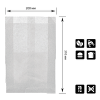 Паперовий пакет без ручок Білий 310*200*50мм (ВхШхГ) 70г/м2 100шт (1922), фото 1