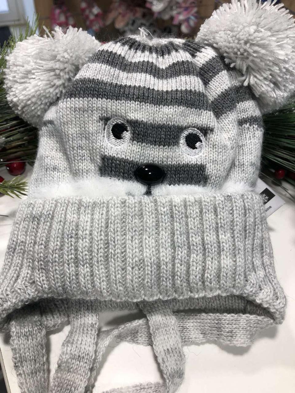 Шапочка зимняя с помпонами  MOUSE (светло-серый)