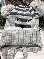 Шапочка зимняя с помпонами  MOUSE (светло-серый), фото 1