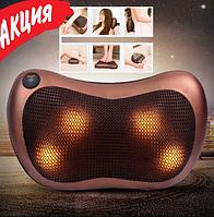 Роликова масажна подушка для шиї, спини і плечей Massage pillow QY-8028 Масажер в машину з підігрівом