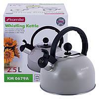 Чайник Kamille Сірий 2.5 л з нержавіючої сталі зі свистком KM-0679ASR