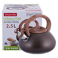 Чайник Kamille Коричневий 2.5 л з нержавіючої сталі зі свистком і ручкою для індукції і газу KM-0680KR