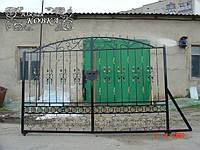 """Откатные кованые ворота на опорном ролике под зашивку поликарбонатом """"стандарт класс"""", фото 1"""