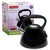Чайник Kamille 3л з нержавіючої сталі зі свистком і чорною бакелітовою ручкою для індукції і газу KM-0651B