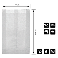 Паперовий пакет без ручок білий жиростойкий 220х140х50мм (ВхШхГ) 70г/м2 100шт (1417), фото 1