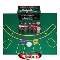 Набор игровой для покера Texas Hold'em (Техас Холдем), 200 фишек, 2 кол. карт, полотно