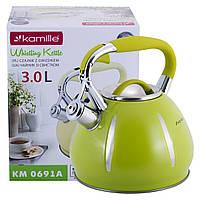Чайник Kamille Зелений 3л з нержавіючої сталі зі свистком KM-0691AZL