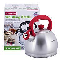 Чайник Kamille Червоний 2л з нержавіючої сталі зі свистком KM-0693NKR