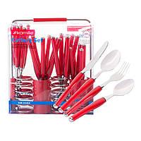 Набір столових приладів Kamille Червоний 25 предмета з нержавіючої сталі з пластиковими ручками і підставкою
