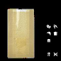 Паперовий пакет без ручок крафтовый з прозорою вставкою 220х100х50/40мм (ВхШхГхШВ) 40г/м2 100шт (68), фото 1
