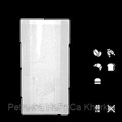 Бумажный пакет без ручек белый с прозрачной вставкой 240х120х50/40мм (ВхШхГхШВ) 40г/м² 100шт (56)