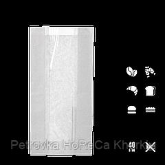 Бумажный пакет с прозрачной вставкой 290х140х50/60мм (ВхШхГхШВ) 40г/м² 100шт (66) Белый