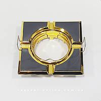 Встраиваемый светильник Feron MR16 098T S поворотный квадрат черное-золото, фото 1